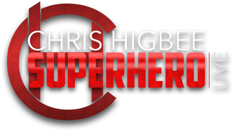 Super Hero Live : Chris Higbee : Tour Dates Available : Super Hero Brand Logo